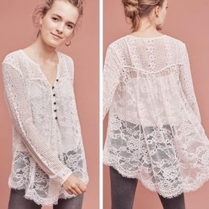 Anthropologie/Floreat Scalloped Lace Henley Top 6